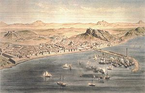 Alicante - Alicante around year 1832. Engraving by Alfred Guesdon