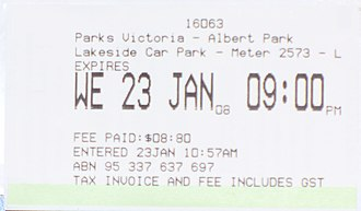 Pay and display - An Australian pay and display ticket, issued by a Reino machine.