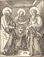 Albrecht Dürer, Saint Veronica between Saints Peter and Paul, 1509, NGA 6772.jpg
