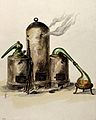 Alchemy; three furnaces with glass vessels on two of them. W Wellcome V0025750.jpg