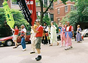 Barbara Flynn Currie - Hyde Park 2006 Independence Day parade (left to right starting at center in light green): Chicago City Council Alderman Toni Preckwinkle as the Statue of Liberty, Currie as Uncle Sam, and Alderman Leslie Hairston as Betsy Ross