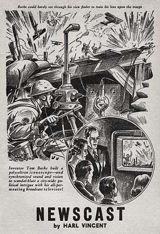 Alex Schomburg - Image: Alex Schomburg Harl Vincent Marvel Science Stories for April May 1939 Illustration for Newscast