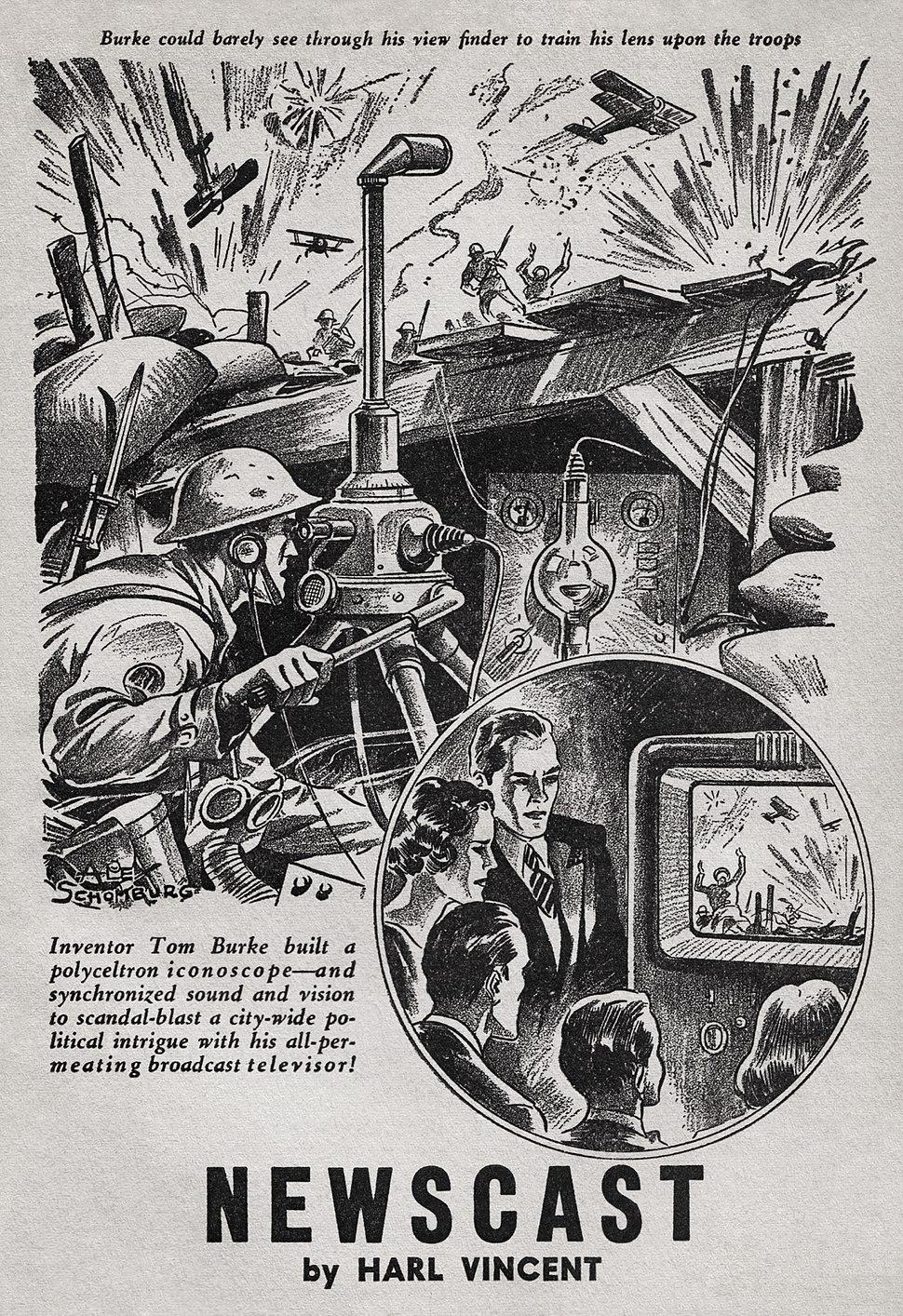Alex Schomburg - Harl Vincent - Marvel Science Stories for April-May 1939 - Illustration for Newscast