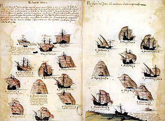 7th Portuguese India Armada (Almeida, 1505) - Depiction of the 7th India Armada (Almeida, 1505), from the Memória das Armadas, c. 1568