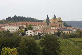 The priory and surrounding buildings in Ambierle