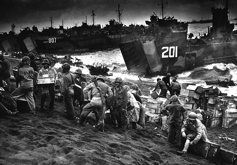File:American supplies being landed at Iwo Jima.JPEG