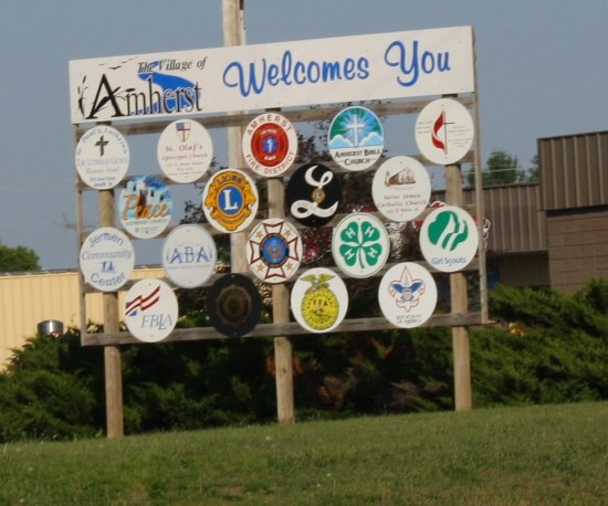Amherst Wisconsin Welcome Sign