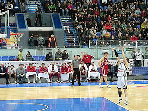 Technical foul - When shooting a free throw for a technical foul, only the free throw shooter, in this case Andrei Ivanov, is allowed within the area below the free throw line extended.