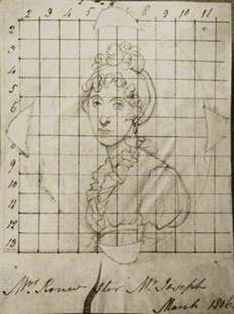 Peter Rouw - Anna Rouw, wife of Peter Rouw, pencil drawing squared in ink for transfer by Henry Bone, probably after George Francis Joseph, March 1806.( National Portrait Gallery, London, NPG D17307)