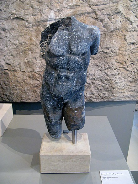 Blue marble torso of a Hellenistic statue from Tyre, Altes Museum Berlin Antikensammlung Berlin 578.JPG