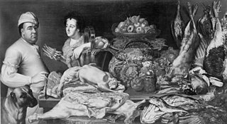 A Cook and a Kitchen Maid with the Provisions of the Kitchen