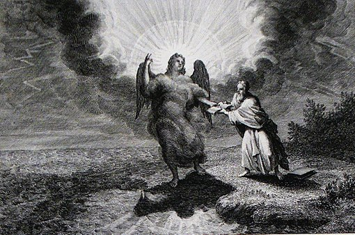 Apocalypse 13. An angel appears with a book. Revelation cap 10 v 3. Mortier's Bible. Phillip Medhurst Collection