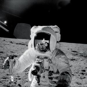 Apollo 12 - Alan Bean pictured by Pete Conrad (reflected in Bean's helmet)