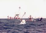 Apollo CM-007A alongside MV Retriever during postlanding systems qualification test (S68-30160).png