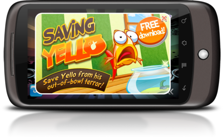 A mobile game displaying a full-screen interstitial ad for a different game AppfloodFullScreenInterstitial.png