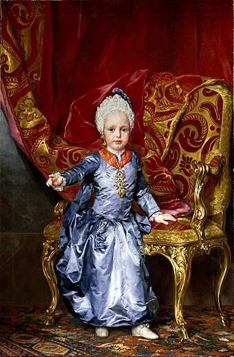 Archduke Francis at the age of 2, 1770. by Anton Raphael Mengs Archduke Franz Joseph Karl (1770).jpg