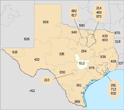 A map of Texas, showing area code 512 in white. Click on an area to go to the page for that code.