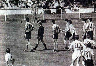 Argentina–England football rivalry - Rattin is sent off in the historic match the Argentina vs England in the 1966 FIFA World Cup.