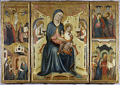Arnau Bassa - Triptych with Madonna and Child with the Crucifixion and the Annunciation - Walters 37468.jpg
