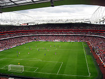 A near-capacity crowd watch Arsenal play Real Madrid on the second and final day of the pre-season tournament.