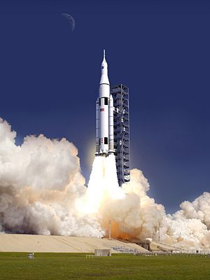 Artist's rendering of the SLS Block 1 crewed variant launching