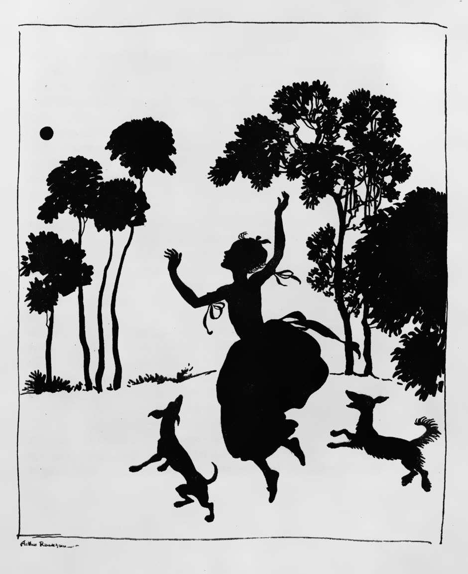 Arthur Rackham Cinderella silhouette illustration