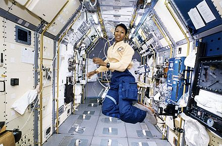 Mae Jemison working in Spacelab. Spacelab was a major NASA collaboration with space agencies in Europe, who constructed the space laboratory and many of its modular additions. Astronaut Mae Jemison Working in Spacelab-J (7544385084).jpg