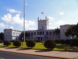 Palacio de Gobierno (also called Palacio López) in Asunción, Paraguay. Built in 1857-66, it has been a seat of the President of Paraguay since 1894.