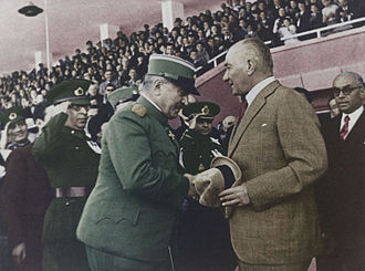 Ankara 19 Mayıs Stadium - Mustafa Kemal Atatürk greets Minister of the Army and Navy of the Kingdom of Yugoslavia General Ljubomir Marić (19 May 1938, Ankara Stadium)