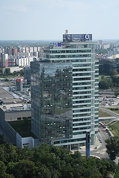 Aupark Tower in Bratislava, view from Nový Most viewpoint in Bratislava, Bratislava V District.jpg