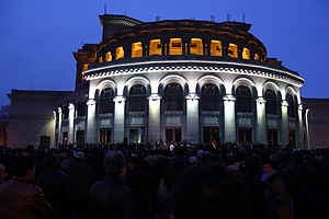 2013 Armenian protests - Hovannisian's rally in front of the Yerevan Opera House on 20 February