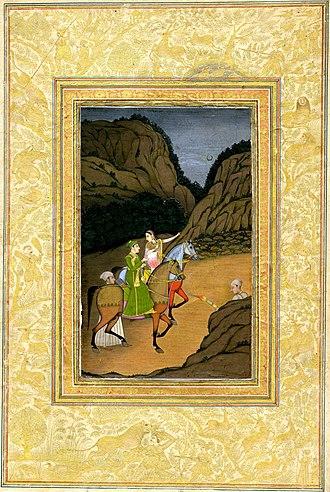 Baz Bahadur - Báz Bahádur and Roopmati on horses with attendants.