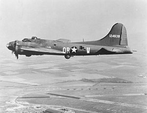 "Schweinfurt–Regensburg mission - Boeing B-17F-27-BO Flying Fortress nicknamed ""The Careful Virgin"" (OR-W) of the 323rd Bomb Squadron, based at RAF Bassingbourn over the UK in late '43 (later used as a flying bomb on 4 Aug 44)."