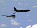 B-2 aircraft hovers into place for aerial refueling with a KC-135.JPEG