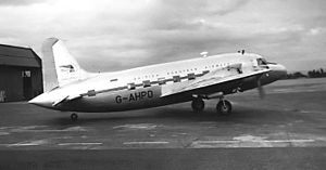 "British European Airways - Vickers Viking 1B (""Admiral"" class) G-AHPO in BEA's early bare metal finish livery at Manchester, England, in August 1952."