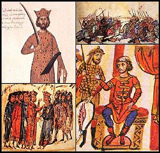 Byzantine–Bulgarian wars - Clockwise from right: The Battle of Anchialus; Khan Omurtag; The Emperors of Bulgaria and Byzantium negotiate for peace; Emperor Nikephoros II Phokas.