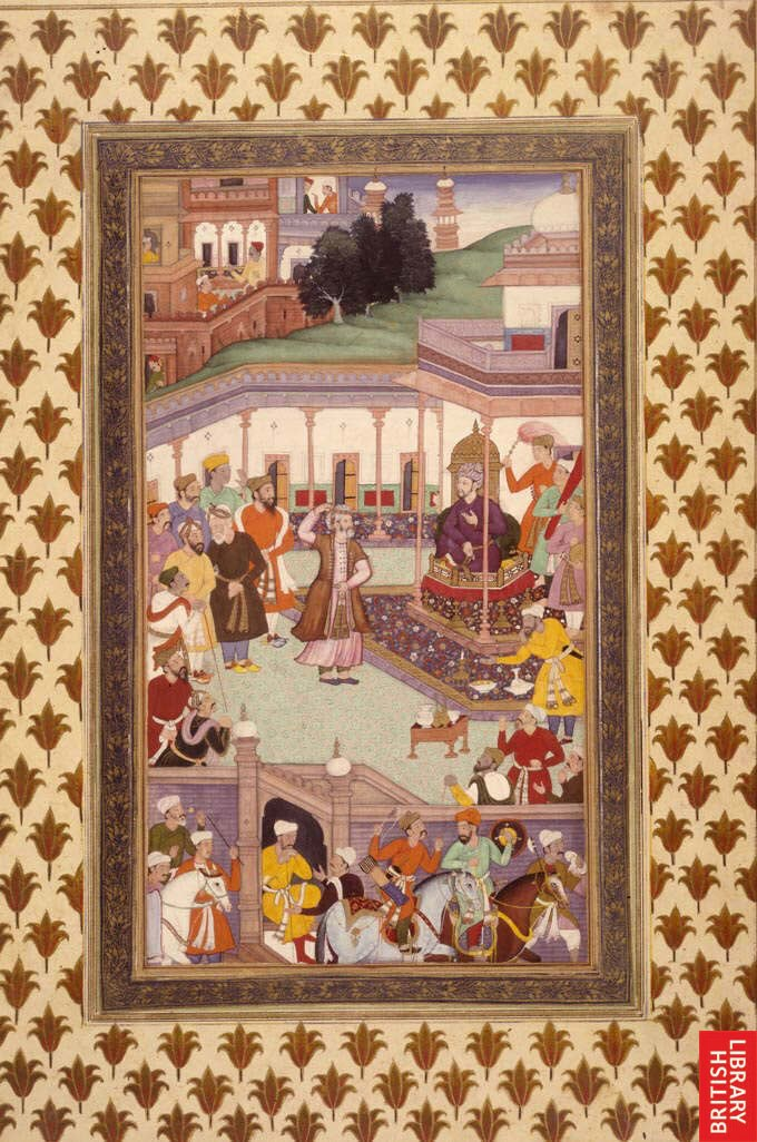 Babur greets courtiers at the Id festival