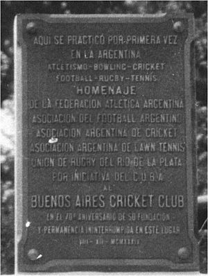 Cricket in Argentina - Placque commemorating the 70th. anniversary of BACC (1934).