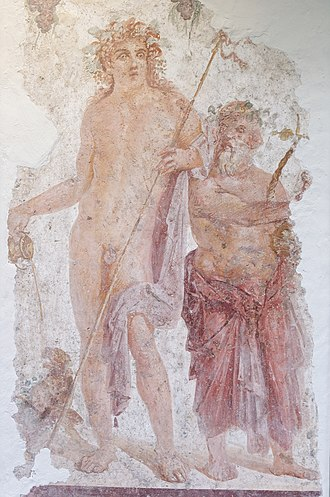 Religion and alcohol - Bacchus pours wine from a cup for a panther, while Silenus plays the lyre, circa 30 BC.