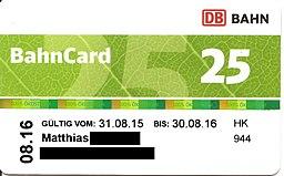 BahnCard 25 (Vorderseite) 2015