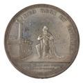 Baksida av medalj med bild av knäböjande Oscar I framför ett altare samt text - Skoklosters slott - 99556.tif