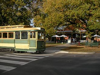 Trams in Ballarat - Ballarat Tramway Museum 33. (type that operated in the city in 1935 passing the Lake Pavilion on Wendouree Parade in 2009)