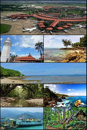 From left to right, top to bottom: سوکارنو-ہاتا بین الاقوامی ہوائی اڈا، Great Mosque of Banten، Carita Beach، Tanjung Lesung، Ujung Kulon National Park، Sawarna Tourism Village، Port of Merak، Baduy People Villages