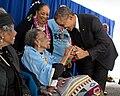 Barack Obama greets former foot soldier Amelia Boynton Robinson, 103 years old, 2015.jpg