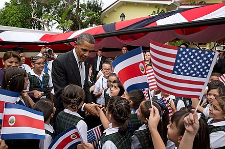 Barack Obama and Laura Chinchilla with Costa Rican children in San Jose Barack Obama with Costa Rican children.jpg