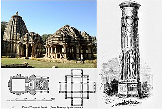 Hindu temple architecture - The early 10th century Baroli temple complex in Rajasthan, illustrating the Nagara architecture.