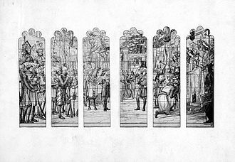 Bartlett Gymnasium - This drawing by Frederic Clay Bartlett was utilized by Edward Peck Sperry while creating the Frank Dickinson Bartlett Memorial Window.