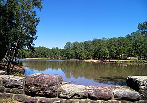 The Bastrop State Park Lake located at 30.1127...