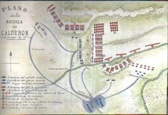 Battle of Calderón Bridge - Plan of the Battle of Calderón Bridge