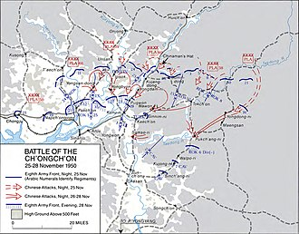 Battle of the Ch'ongch'on River - Image: Battle of Ch'ongch'on River Map 2
